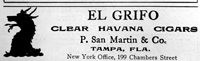 A Newspaper advertisment for the El Grifo Cigar Factory