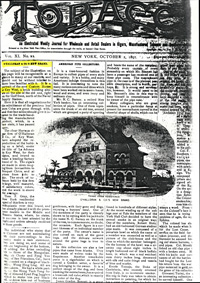 """The Front page of the """"Tobbaco Leaf"""" showing a drawing of the Key West Customs House, which O'Halloran planning to use for a cigar label"""