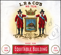 L. P.& Co's, no 10: Leopold Powell and Company cigar label, copyright Oct. 1908.