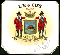 L. P. & Co., no. 10: a Leopold Powell and Company cigar label.
