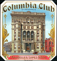 An Outer label for the Columbia Club brand of cigars for the Arguella, Lopez, and Brothers Cigar Company.