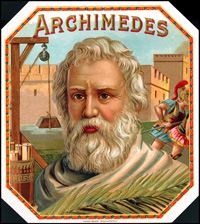 An Outer label for the Archimedes brand From the Arguelles, Lopez, and Brothers Cigar Company.