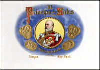 The Inner lid label of El Principe de Gales of the Ybor Cigar Factory.