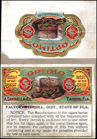 The Progressvive proof book for Optimo, a brand name for A. Santaella Cigar Company.