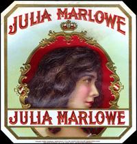 A Julia Marlowe cigar label for Corral, Wodiska and Company.
