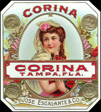 The Corina cigar label of Jose Escalante and Company.