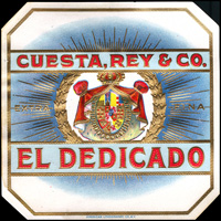The El Dedicado cigar label from Cuesta, Rey and Company.
