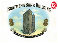 The Boatmen's Bank Building cigar label of Gradiaz-Annis and Company