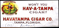 A Hav-a-Tampa cigar label made by the Havatampa Cigar Company