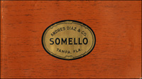 The top wrap of Somello, a cigar label for Andres Diaz and Company (Marcelino Perez Cigar Company).