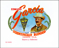 The Edward Garcia cigar label for the Edward Garcia Cigar Company