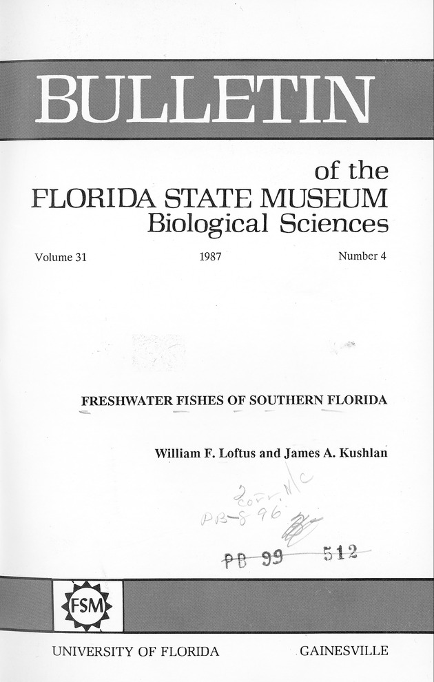 Freshwater fishes of southern Florida - Page i