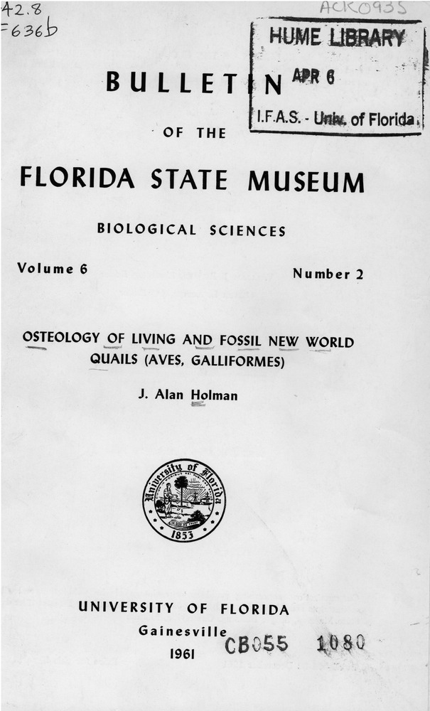 Osteology of living and fossil New World quails (Aves, Galliformes) - Page 129