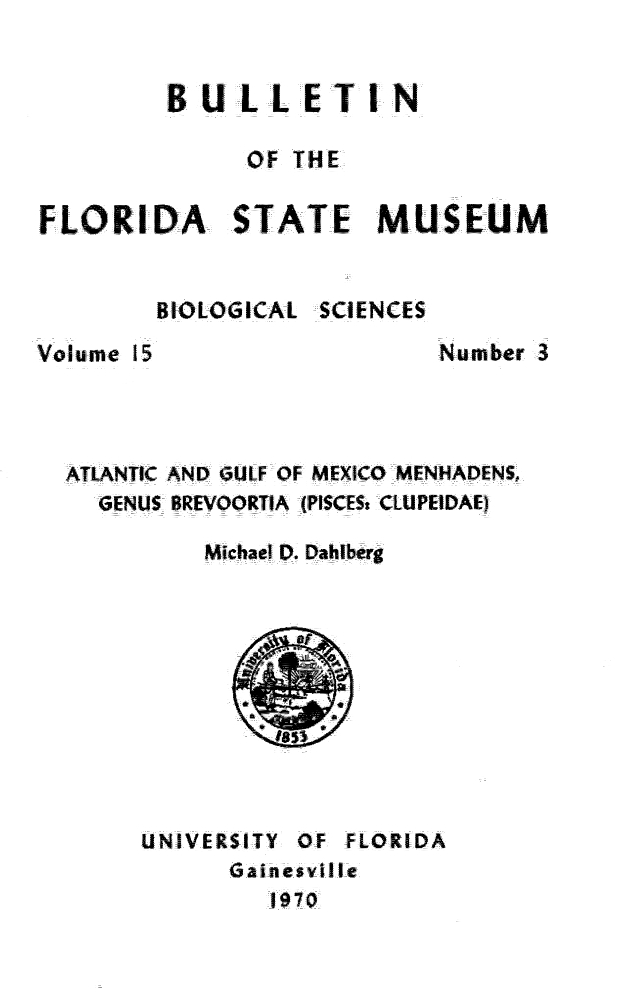 Atlantic and Gulf of Mexico menhadens, genus Brevoortia (Pisces Clupeidae) - Title Page 1