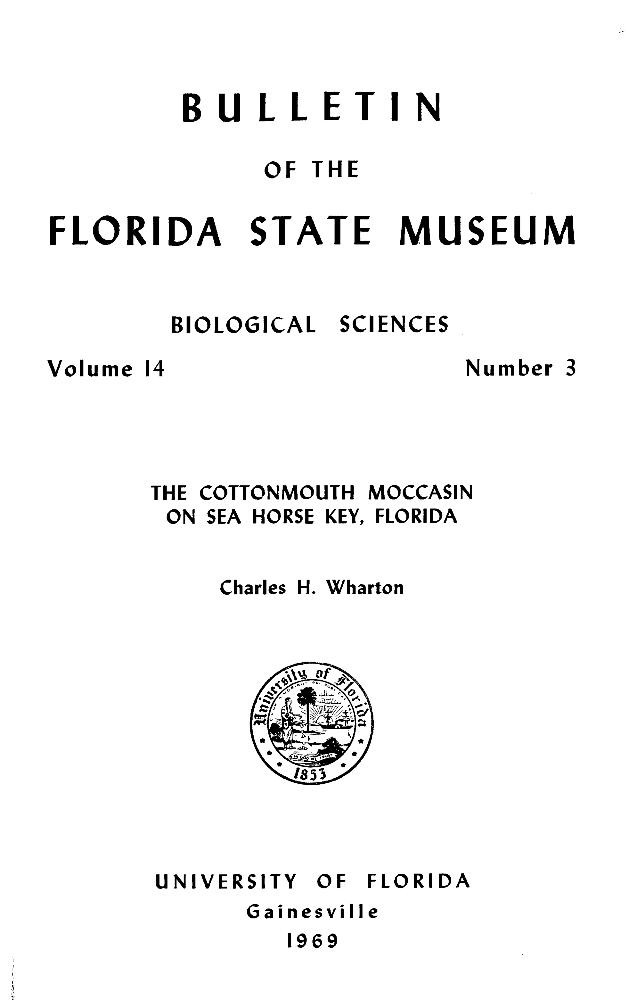 The cottonmouth moccasin on Sea Horse Key, Florida - Page i