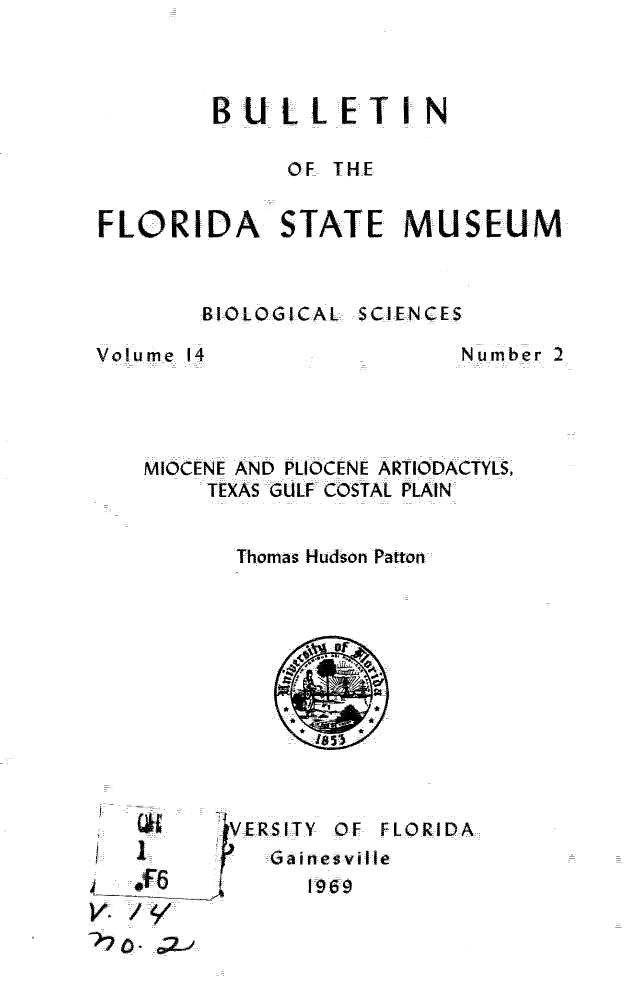Miocene and Pliocene artiodactyls, Texas Gulf Coastal Plain - Title Page 1
