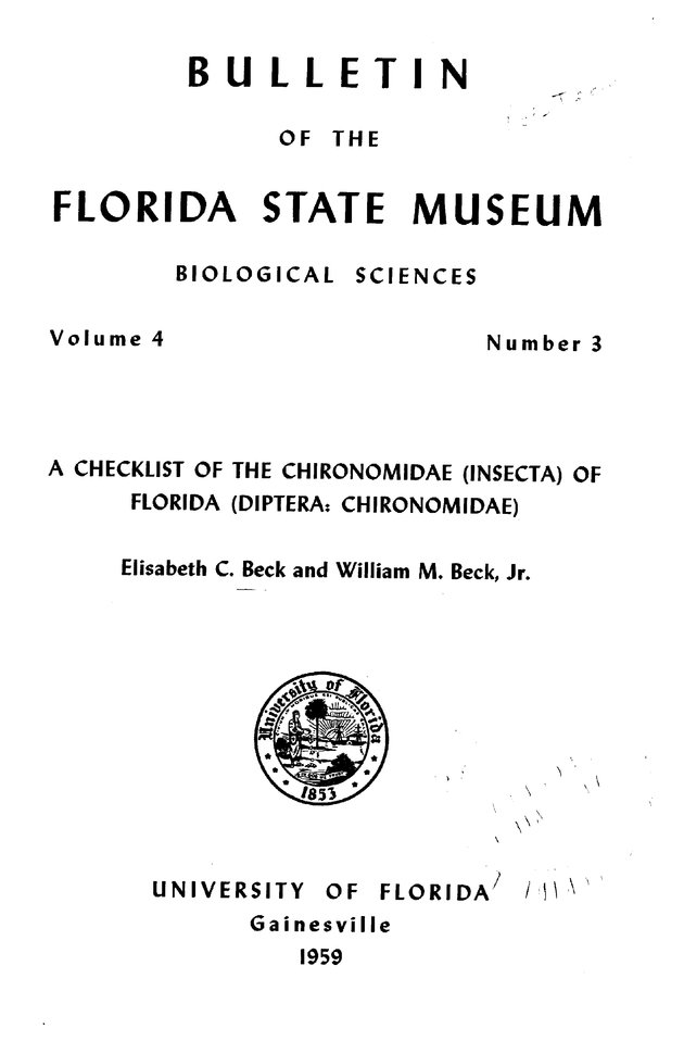 A Checklist of the Chironomidae (Insecta) of Florida (Diptera Chironomidae) - Front Cover 1