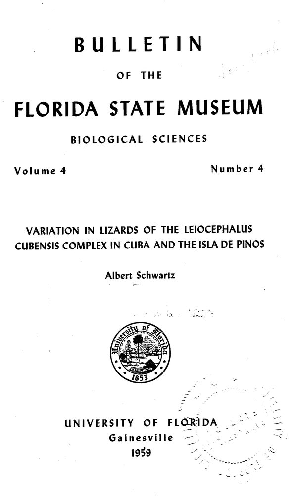 Variation in lizards of the Leiocephalus cubensis complex in Cuba and the Isla de Pinos - Front Cover 1