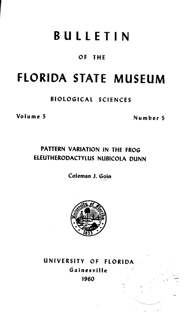 Pattern variation in the frog Eleutherodactylus nubicola Dunn - Page 241