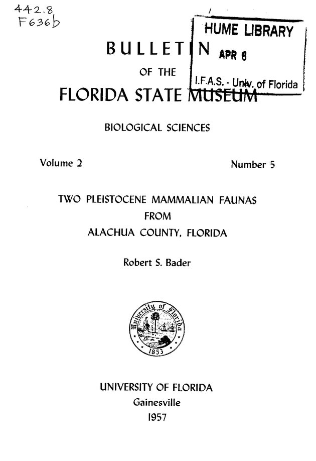 Two Pleistocene mammalian faunas from Alachua County, Florida (FSM Bulletin) - Front Cover 1