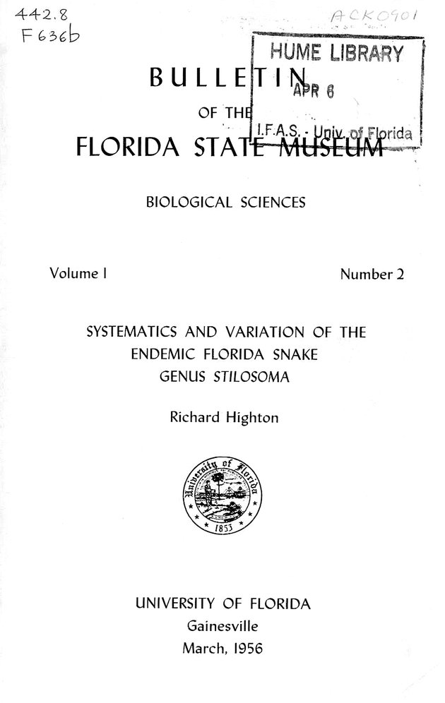 Systematics and variation of the endemic Florida snake genus Stilosoma (FSM Bulletin 1956) - Cover 1
