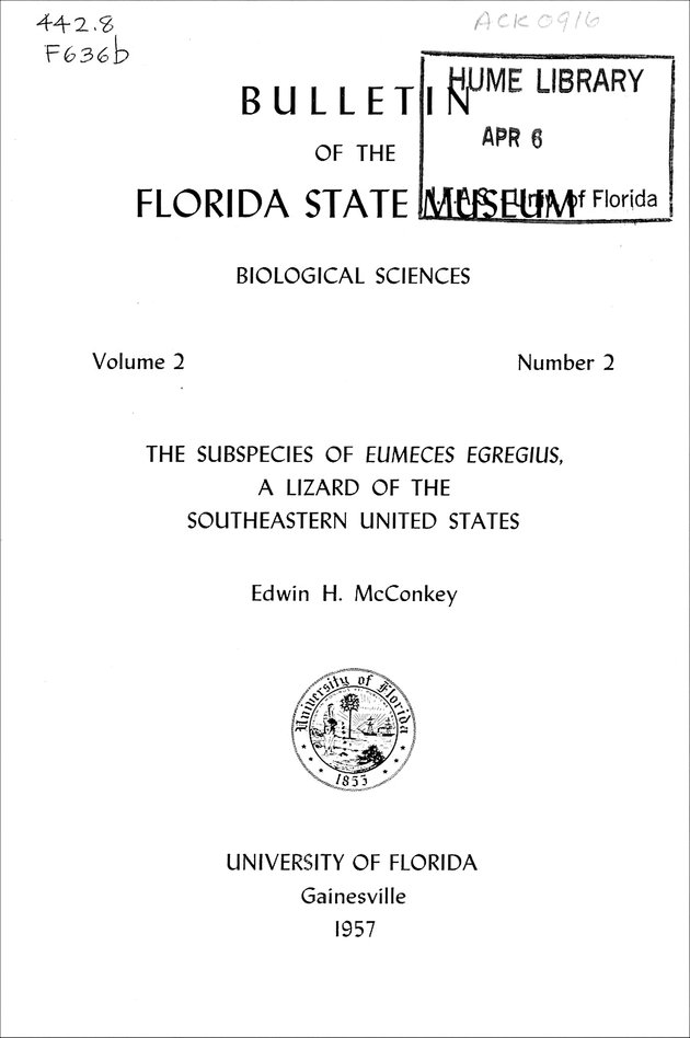 Subspecies of Eumeces egregius (FSM Bulletin) - Front Cover 1