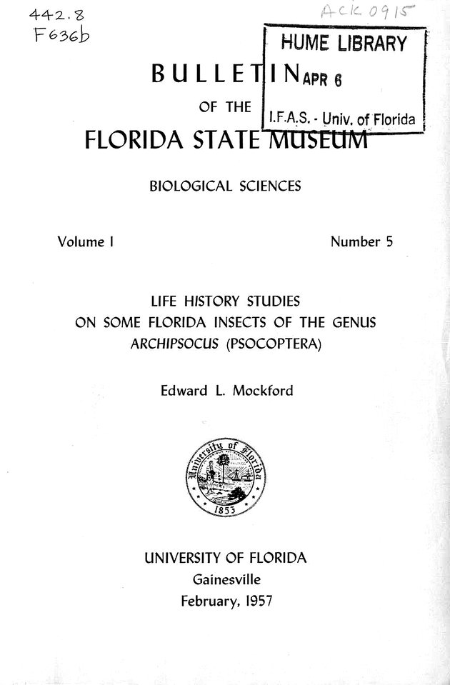 Life history studies on some Florida insects of the genus Archipsocus (Psocoptera) (FSM Bulletin) - Cover 1