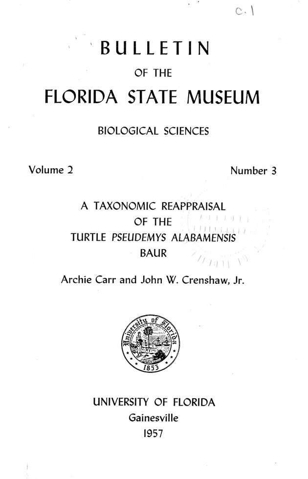 Taxonomic reappraisal of the turtle, Pseudemys alabamensis Bauer (FSM Bulletin) - Front Cover 1