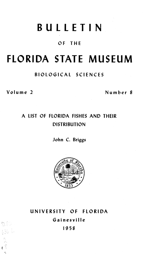 A List of Florida fishes and their distribution - Page 221