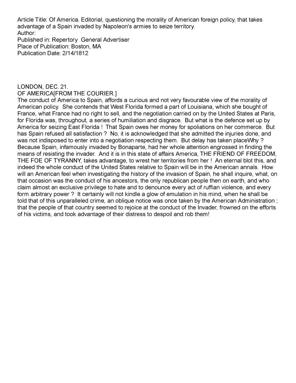 Repertory & General Advertiser 2/14/1812  1:5