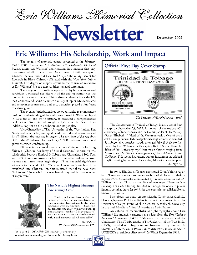 Eric Williams Memorial Collection newsletter - Page 1
