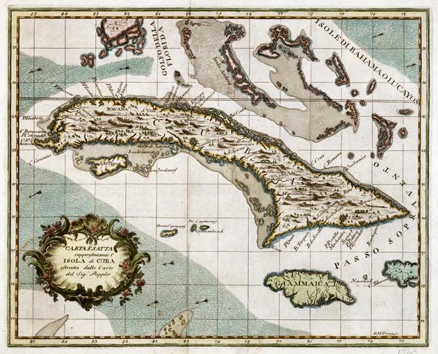 Carta esatta rappresentante l'Isola di Cuba estratta dalle carte del Sig. Poppler