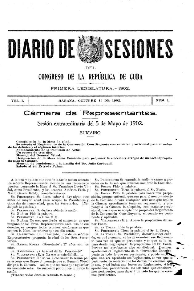 Diario de sesiones del Congreso de la Républica de Cuba - Page 1