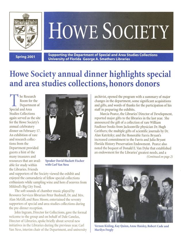 Howe Society newsletter. Spring, 2001. - Page 1
