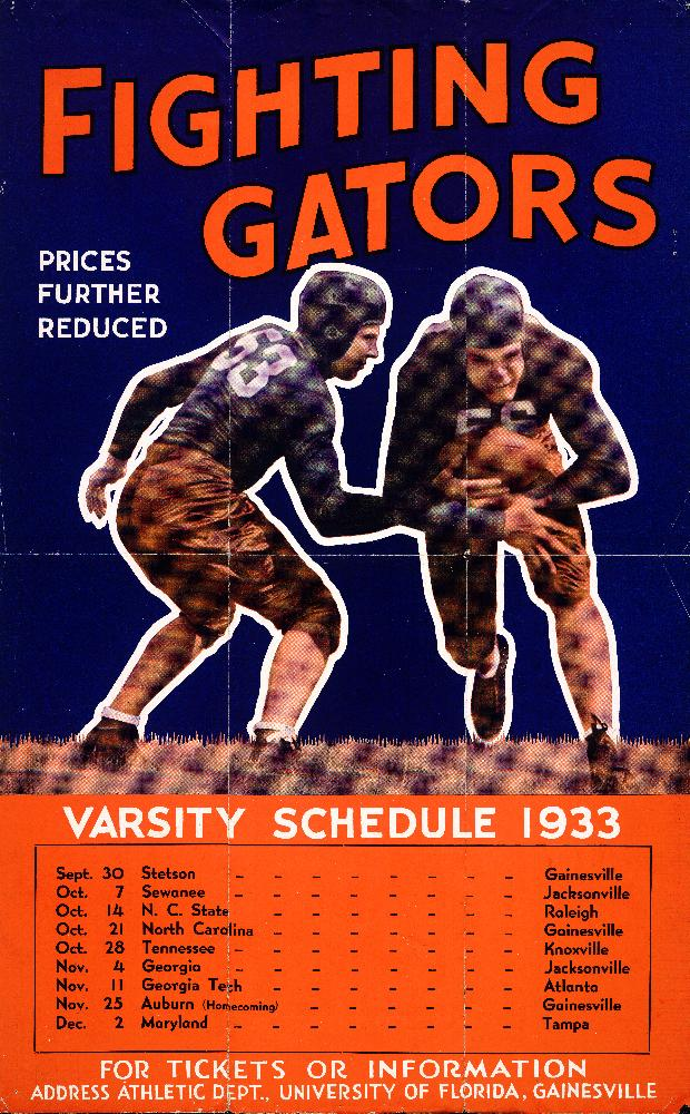 University of Florida Fighting Gators poster listing all of the 1933 Varsity football games. (G-9) - Image 1