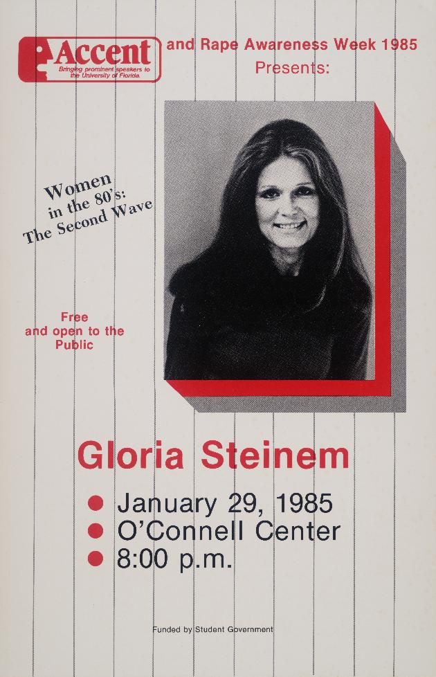 Poster : Accent and Rape Awareness Week 1985 Presents: Gloria Steinem - Map Sheet #1