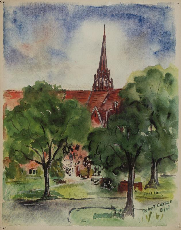 Reproduction of a watercolor of University Auditorium on the campus of the University of Florida. - Photograph #1