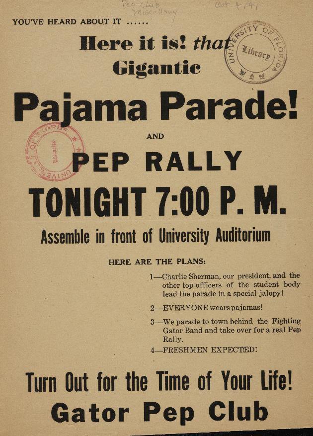 University of Florida Pajama Parade flyer - Photograph #1