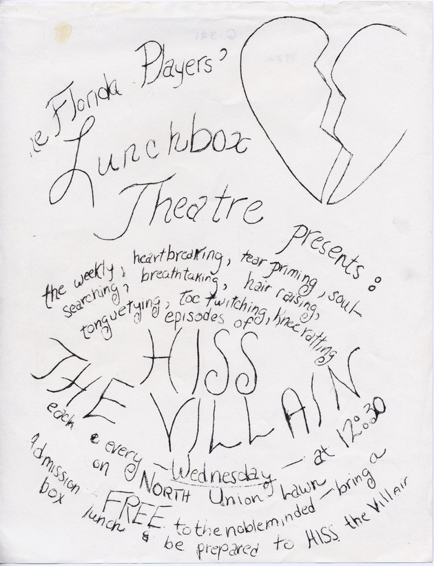 Florida Players' Lunchbox Theatre Presents poster announcing