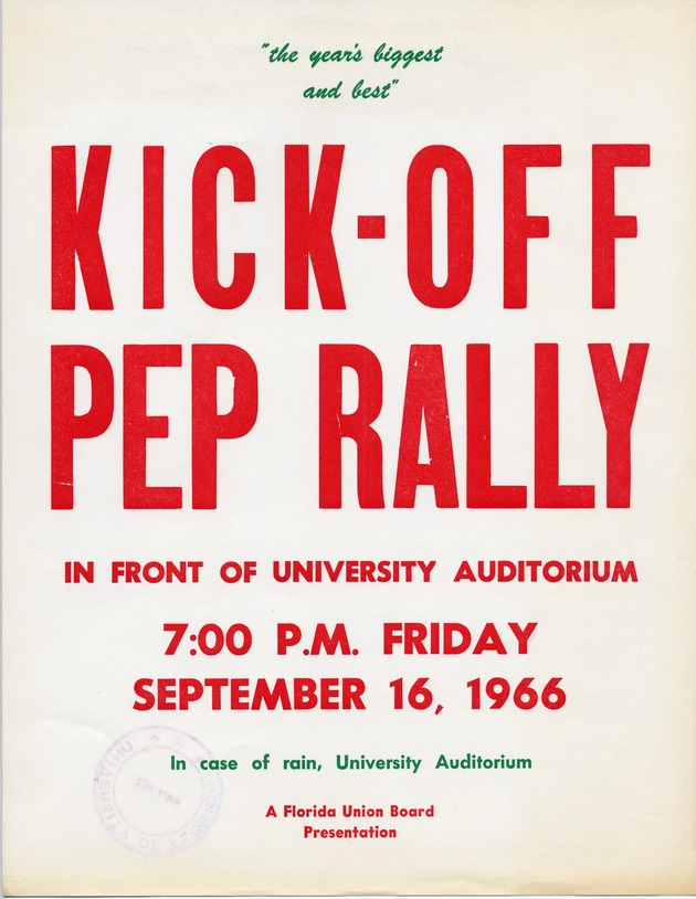 Poster for the Kick Off Pep Rally for the start of football season at the University of Florida - Photograph #1