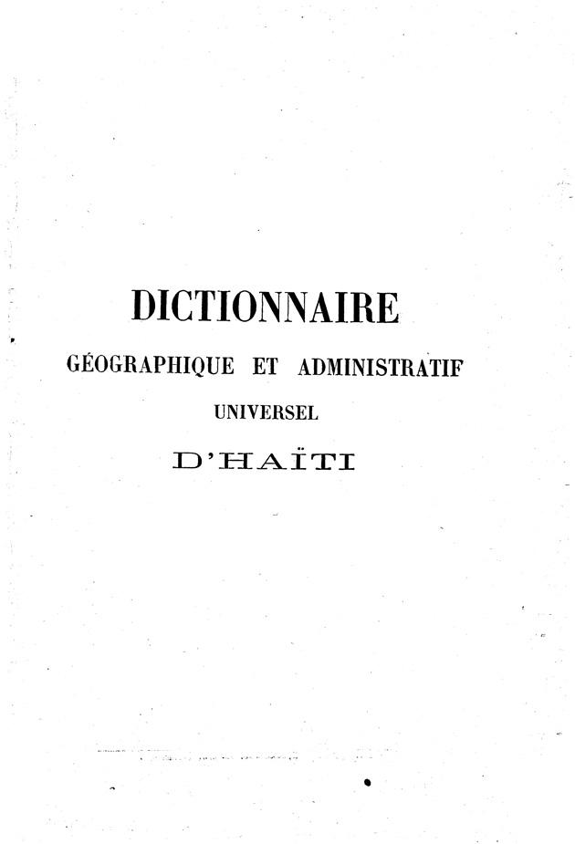 Dictionnaire géographique et administratif universel d'Haiti .. - Page III