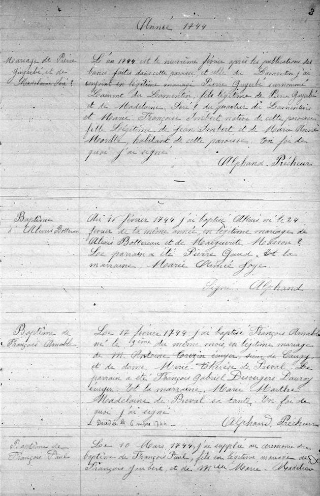 [Registres de l'etat civil] 1744-1806 - Page 1