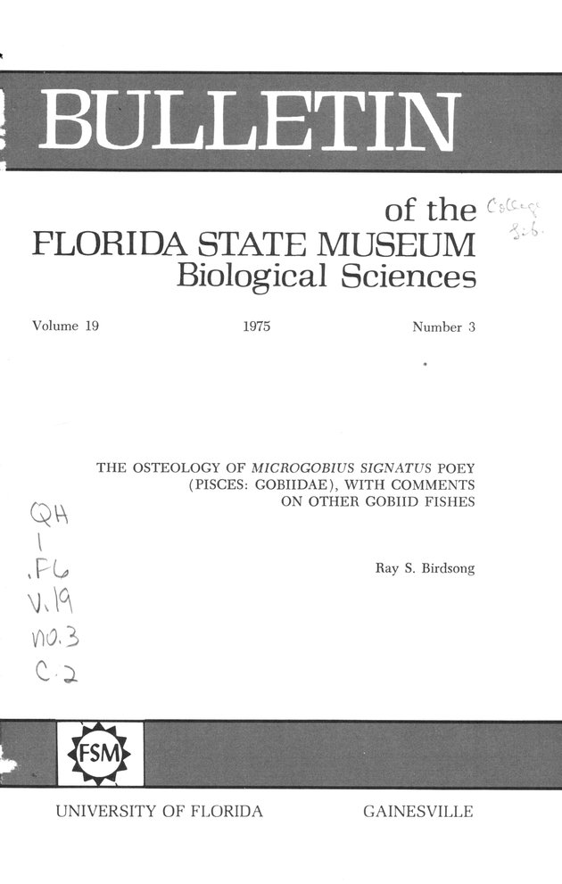 Osteology of Microgobius signatus Poey (Pisces, Gobiidae) - Front Cover