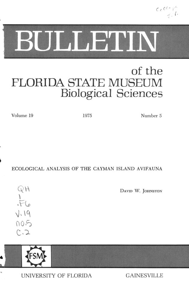 Ecological analysis of the Cayman Island avifauna - Front Cover