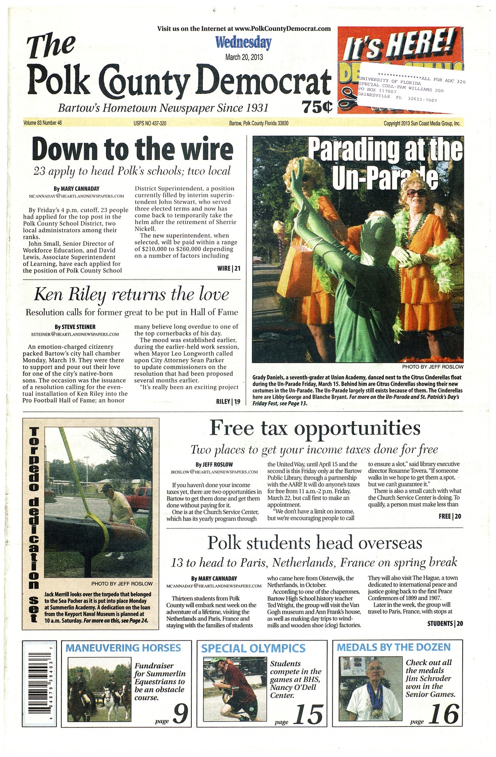 The polk county democrat march 20 2013 material information fandeluxe Images