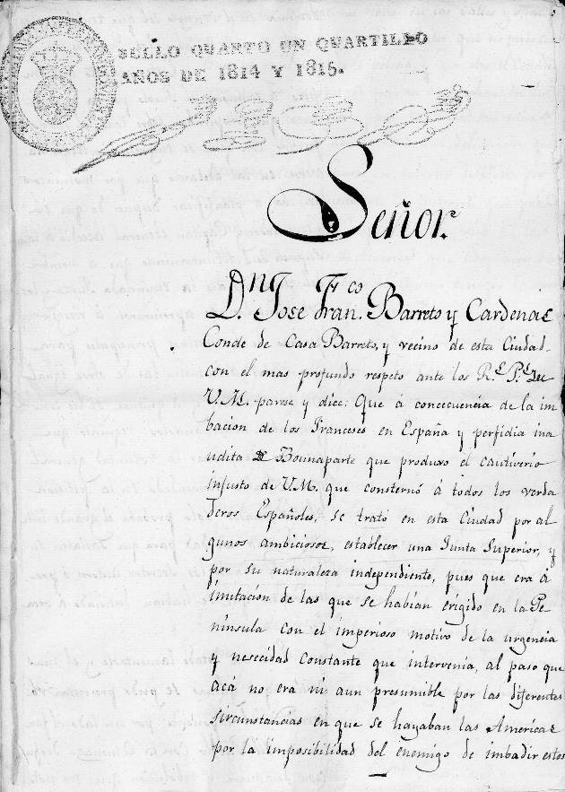 Petition from Jose Francisco Barreto y Cardenas to King Ferdinand VII, 10 October 1814 - Page 1