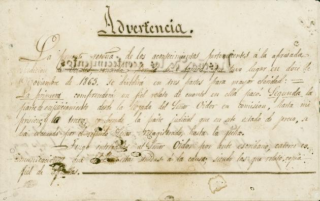 Advertencia. La presente resena de los acontecimientos, c.1863 - Page 1