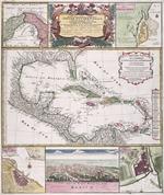 Mappa geographica complectens. I. Indiae Occidentalis partem mediam circum, Isthmum Panamensem. II. Ipsum [que] isthmum. III. ichnographiam praecipuorum locorum & portuum ad has terras pertinentium