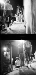 """Two photographs of the Florida Players rehearsal for """"Finian's Rainbow"""" at the University of Florida."""