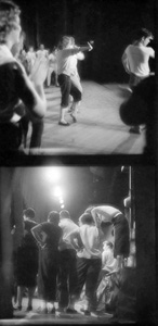 """Two photographs of the Florida Players rehearsing """"Finian's Rainbow"""" at the University of Florida."""